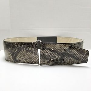 Chico's Faux Snake Print Wide Waist Belt Size L